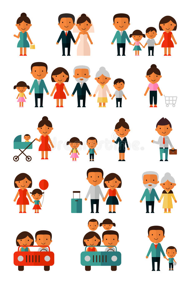 Group of people set. Illustration of group of children jumping vector illustration