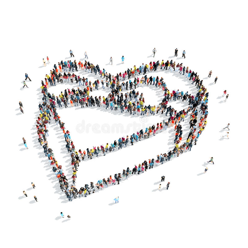 Group people shape gift heart royalty free illustration