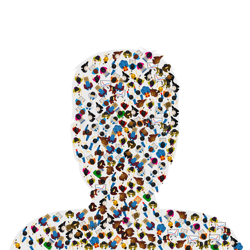 A group of people in a shape of a human head, isolated on white background. Vector illustration. vector illustration