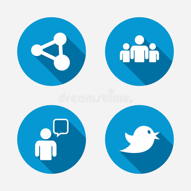 Group Of People And Share Icons Speech Bubble Stock Vector