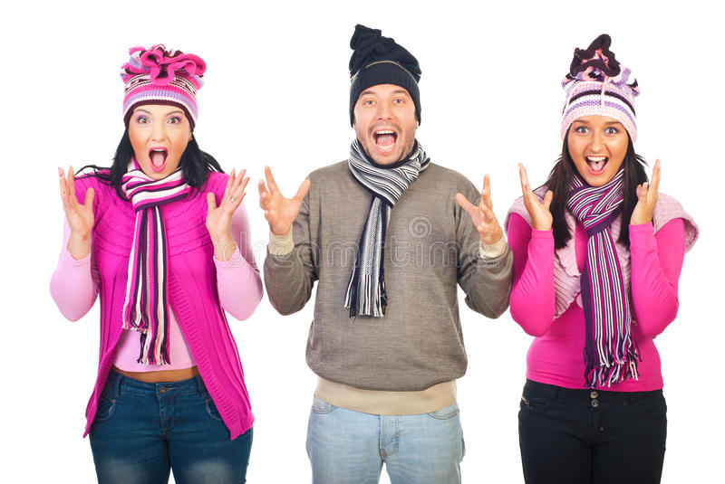 Group of people shouting together royalty free stock photos