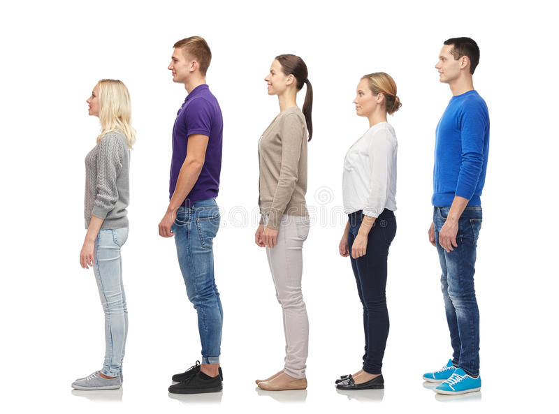 Group of people from side. Family, gender, high and people concept - group of men and women from side stock image