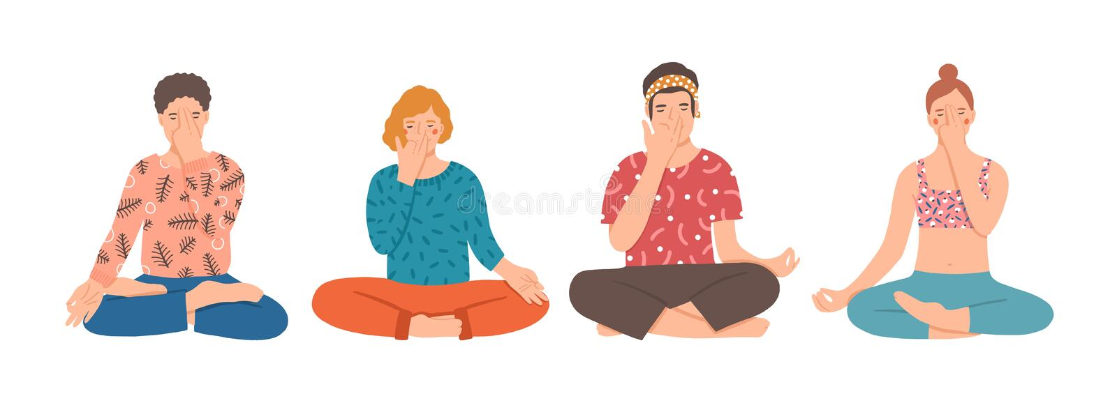 Group of people sitting cross-legged on floor and performing yoga breathing exercise. Young men and women practicing stock illustration