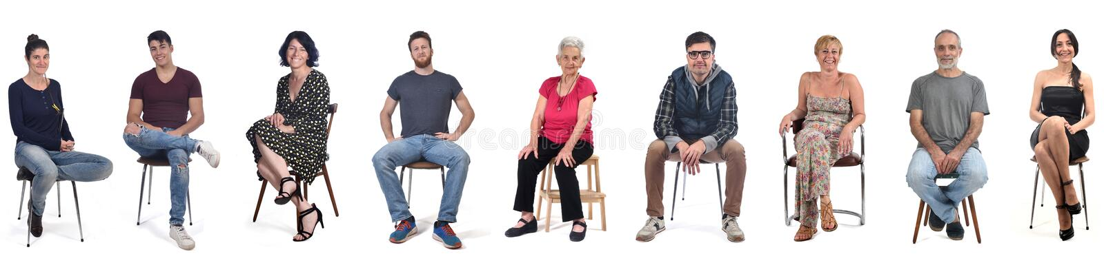 Group of people sitting on white background royalty free stock photography