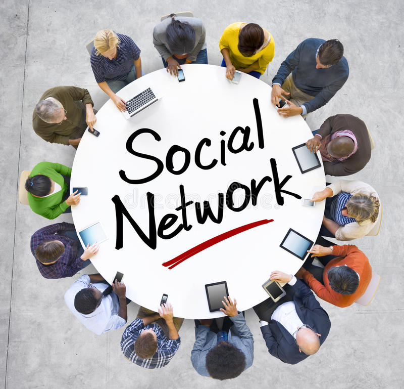Group of People with Social Network Concept royaltyfria foton