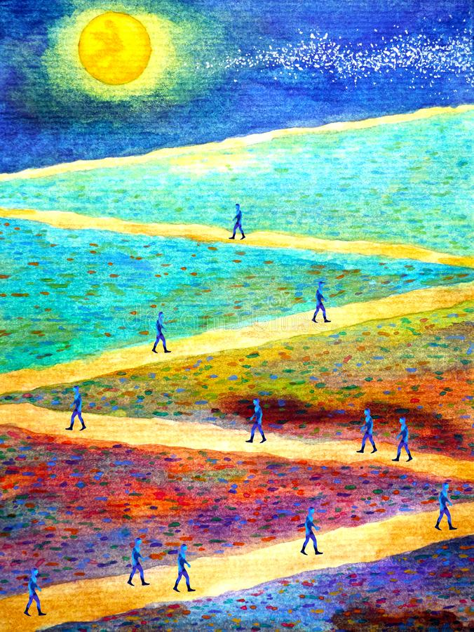 Group of people with spirit powerful energy walking together on zigzag walkway during full moon night. Watercolor painting vector illustration