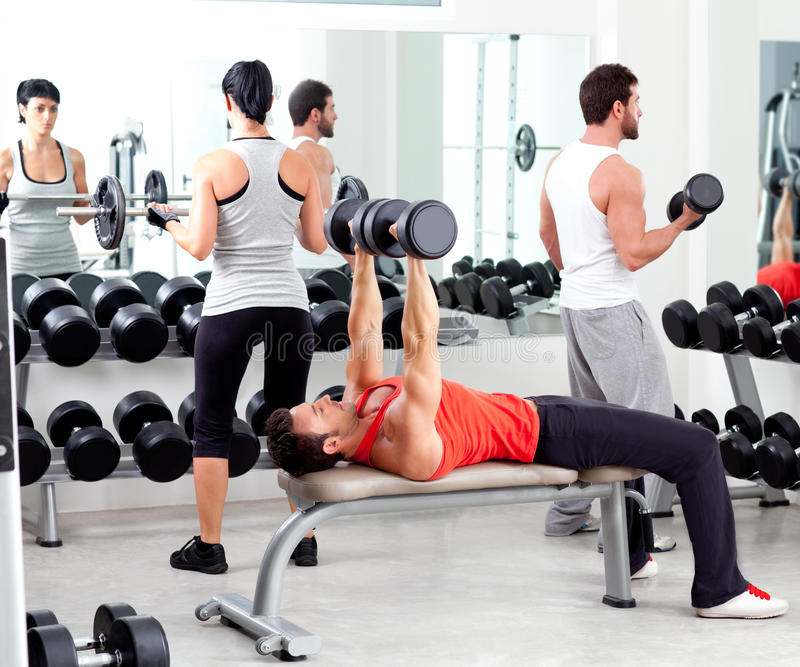 Group of people in sport fitness gym royalty free stock photography