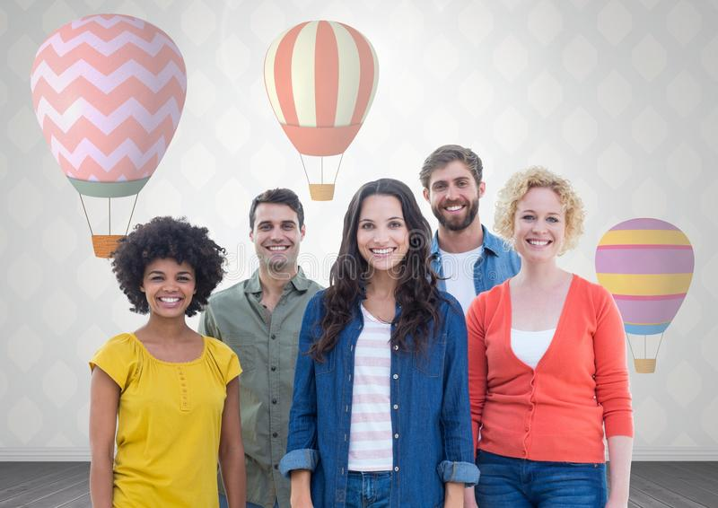 Group of people standing in front of hot air balloons vector illustration
