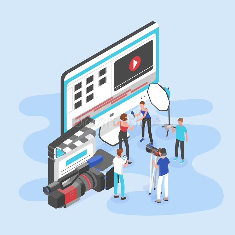 Group of people standing by giant computer display, clapperboard and camera and shooting video interview. Videography royalty free illustration