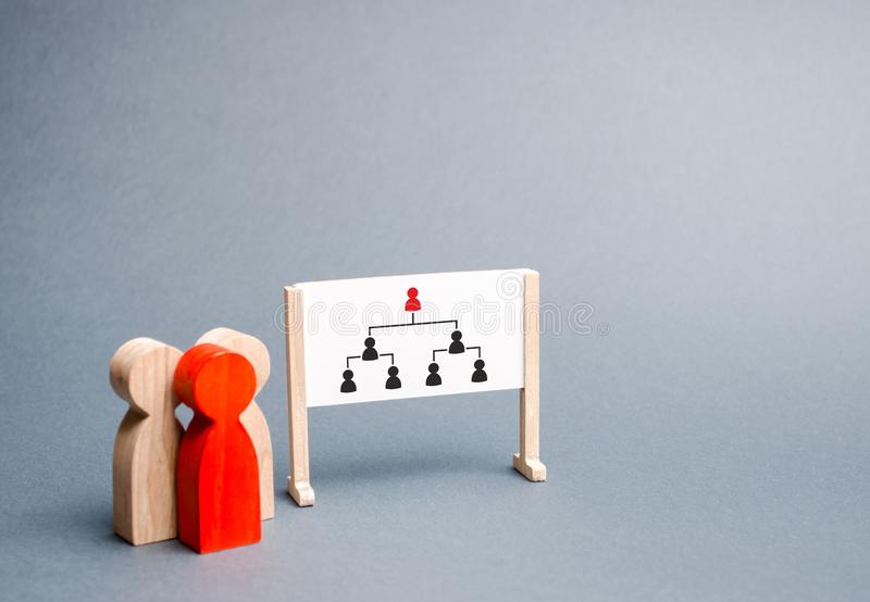 A group of people stands near the stand with the image of the hierarchy in the organization. Business collection, information. On whiteboard. Report and royalty free stock image