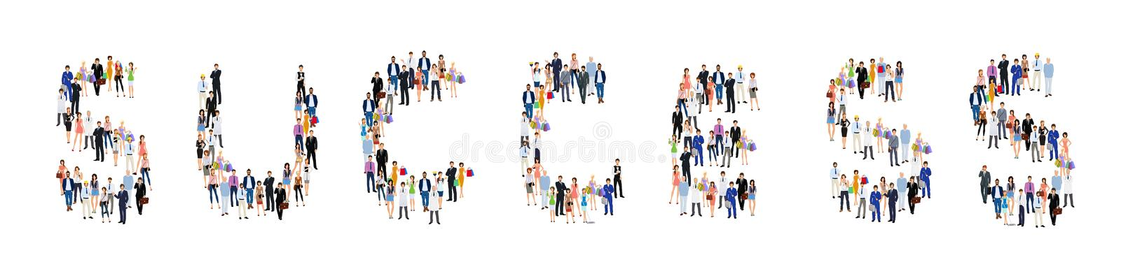Group of people success poster. Group of people adult professionals in success lettering shape poster vector illustration stock illustration