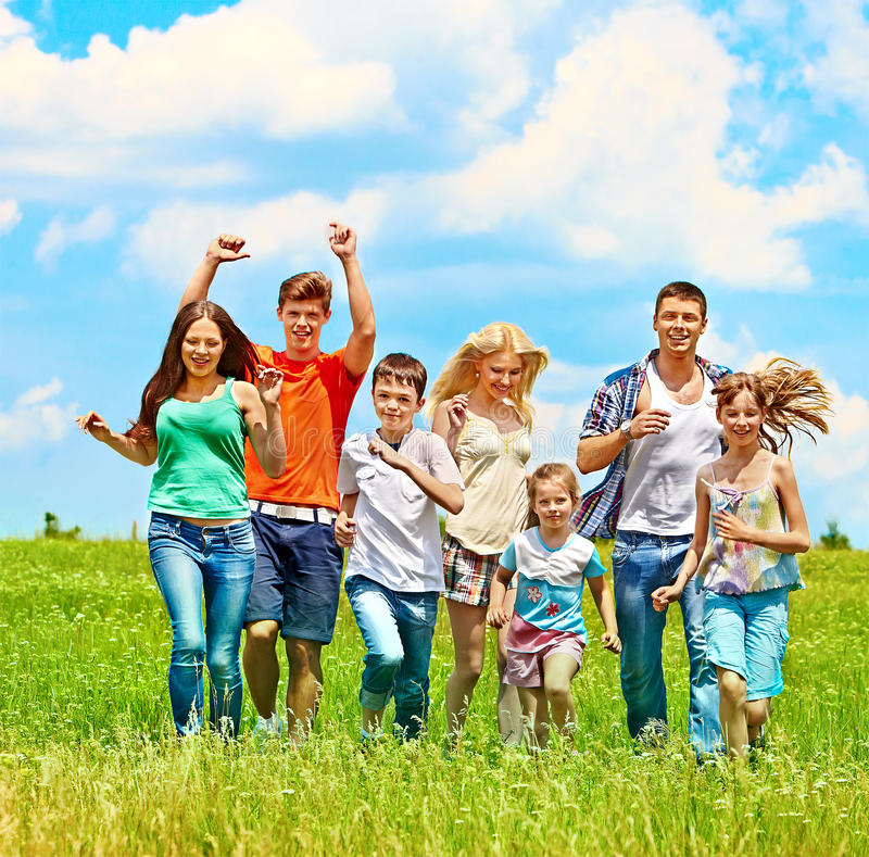 Group people summer outdoor. royalty free stock photos