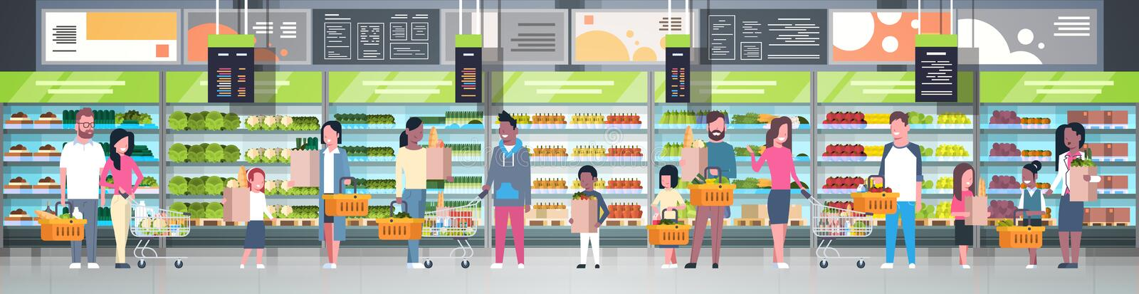 Group Of People In Supermarket Holding Bags, Baskets And Pushing Trolleys Over Shelves With Grocery Products Consumerism royalty free illustration