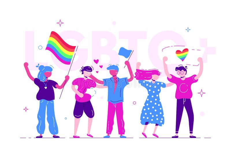Group of people taking part in pride parade. Men and women at street demonstration for LGBT rights. Group of gay, lesbian, bisexual, transgender activists with royalty free illustration