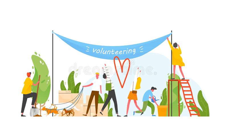 Group of people taking part in volunteer organization or movement, volunteering or performing altruistic activities. Together - walking dogs, hanging banner royalty free illustration