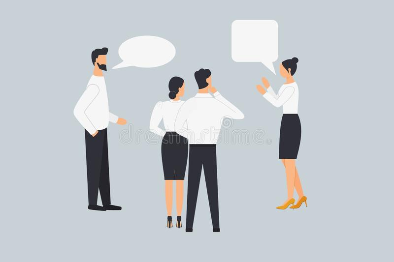 A group of people talk, communicate, argue and discuss business issues.Colleagues share their views. Design graphics in a flat. Stylish style.Design concept on stock illustration