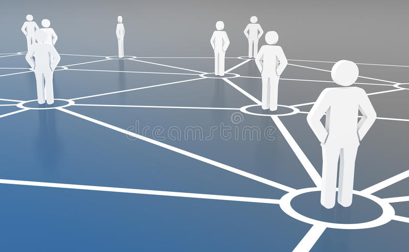 Group of people talking on global social networks stock illustration
