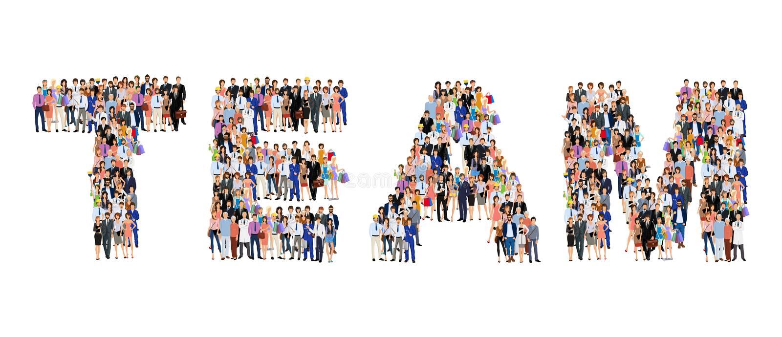 Group of people team poster. Group of people adult professionals in team lettering shape poster vector illustration royalty free illustration