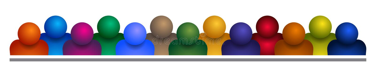 Group of people team on white stock illustration
