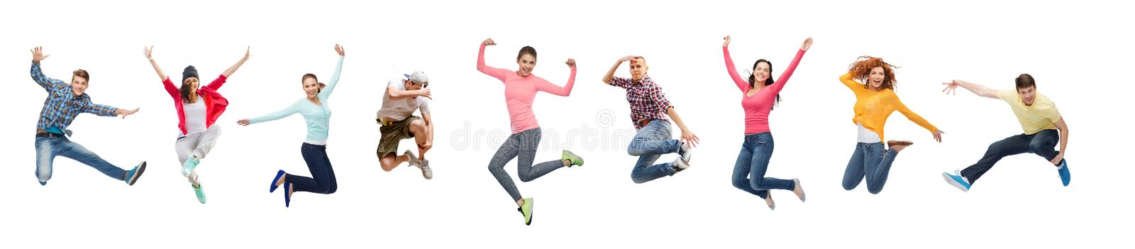 Group of people or teenagers jumping stock photos