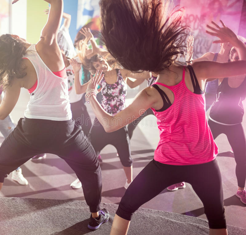 Group of people at urban dance class. In studio royalty free stock images