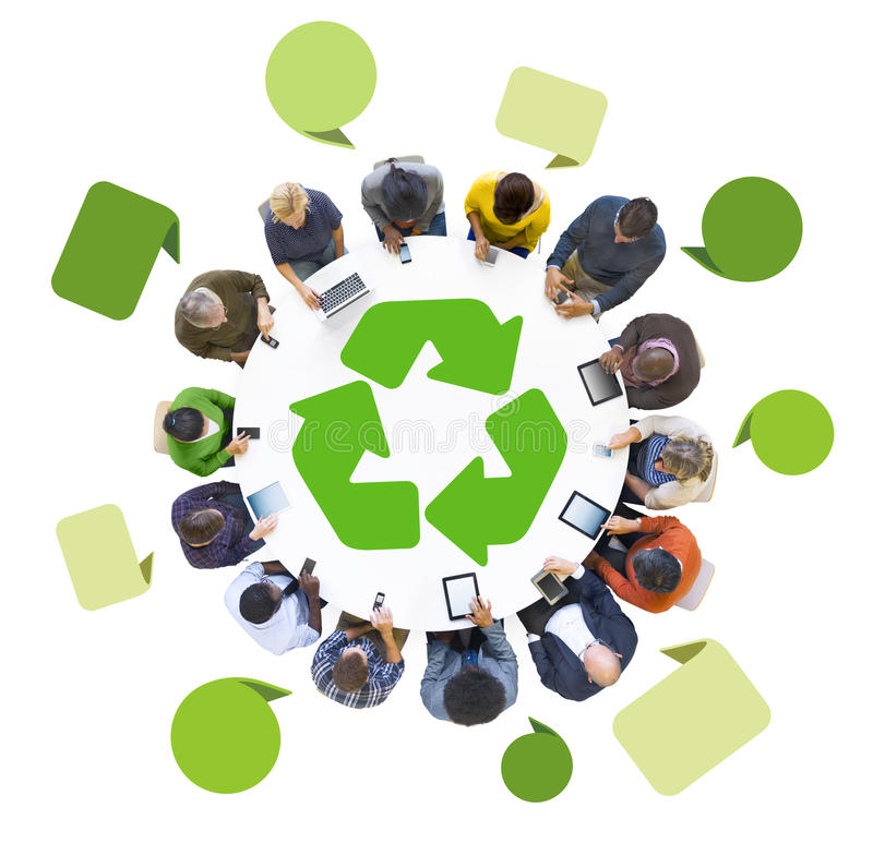 Group of People Using Digital Devices with Recycle Symbol.  royalty free stock photo