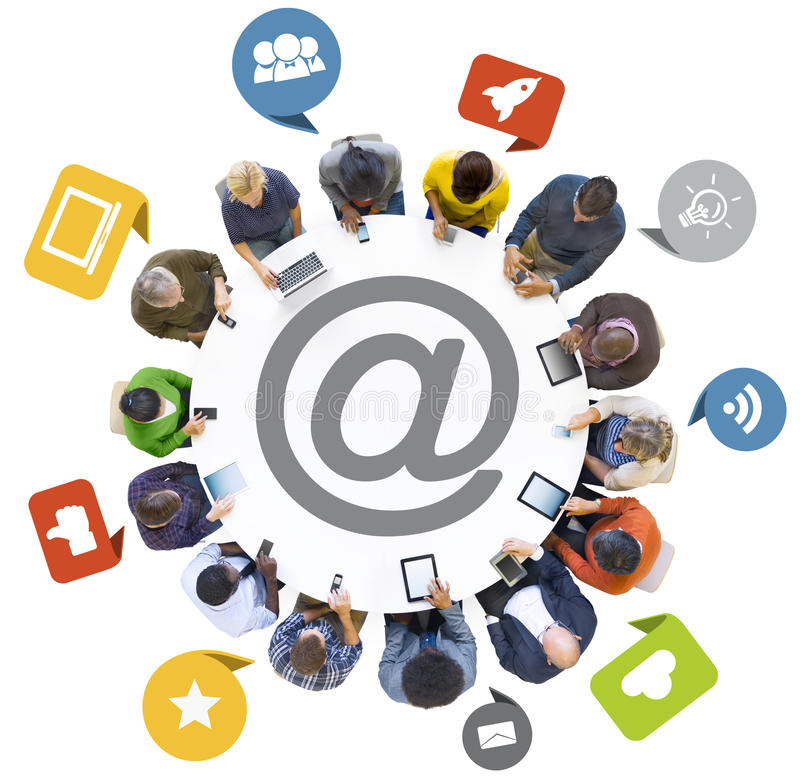 Group of People Using Digital Devices with Social Media Symbol.  stock image