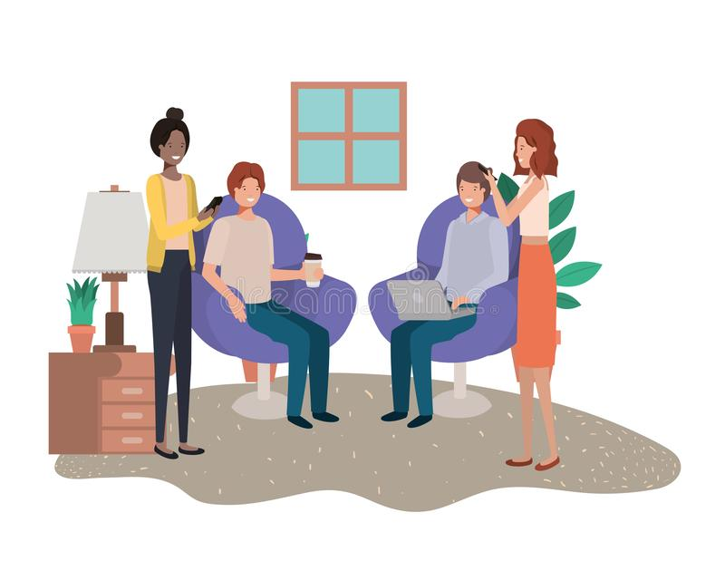 Group of people using technology devices in livingroom. Vector illustration design royalty free illustration
