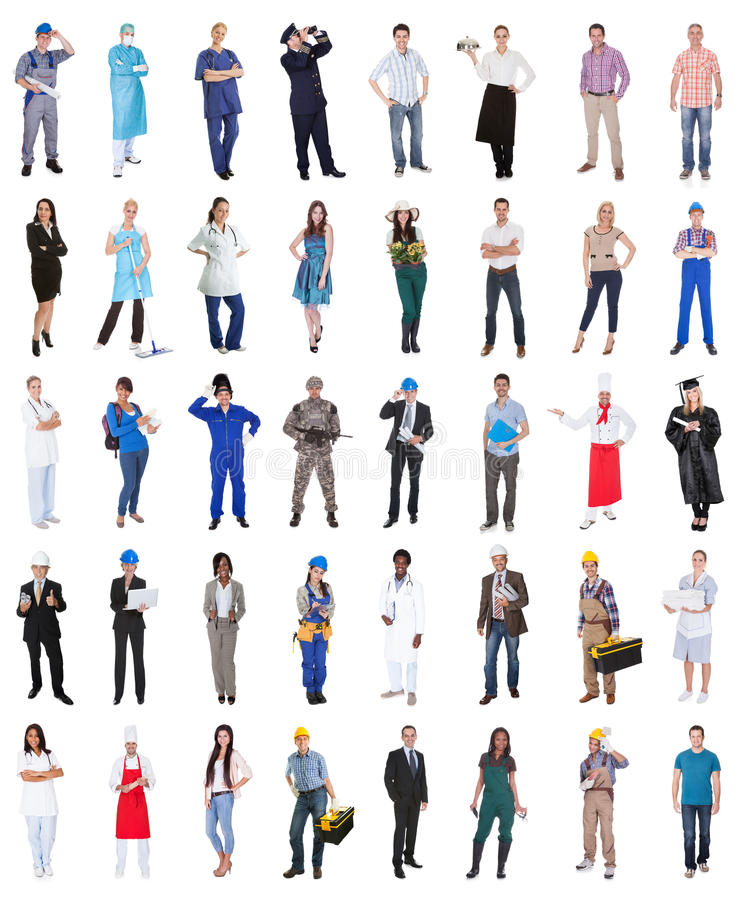 Group of people from various professions royalty free stock photography