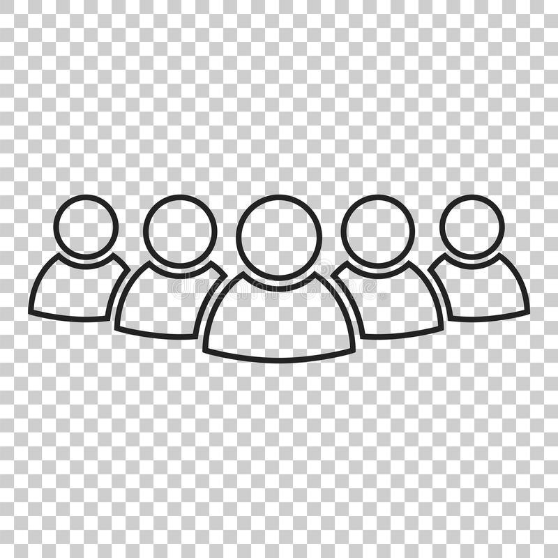 Group of people vector icon in line style. Persons icon illustration. stock illustration