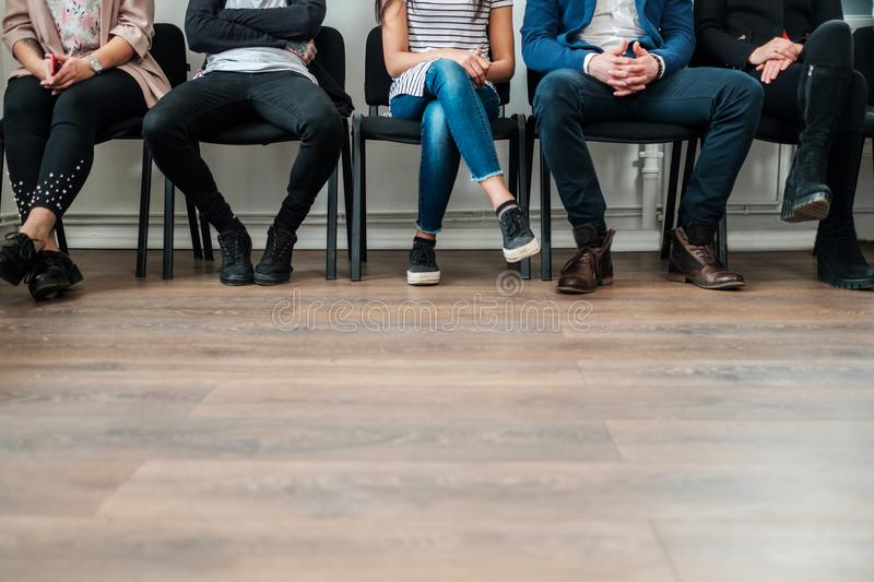 Group of a people waiting for a casting or job interview royalty free stock images