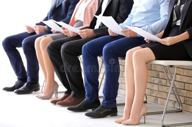 Group of people waiting for job interview stock photo