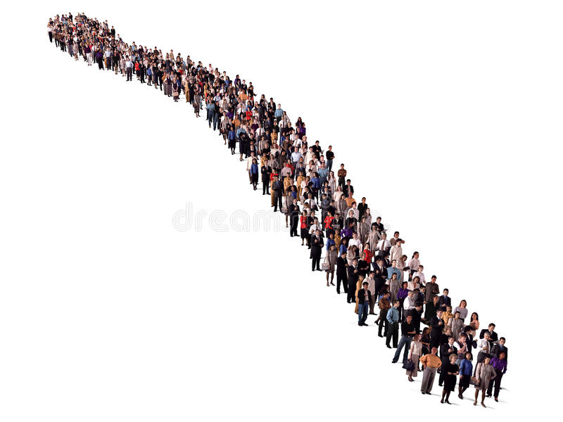 Group of people waiting in line stock photos