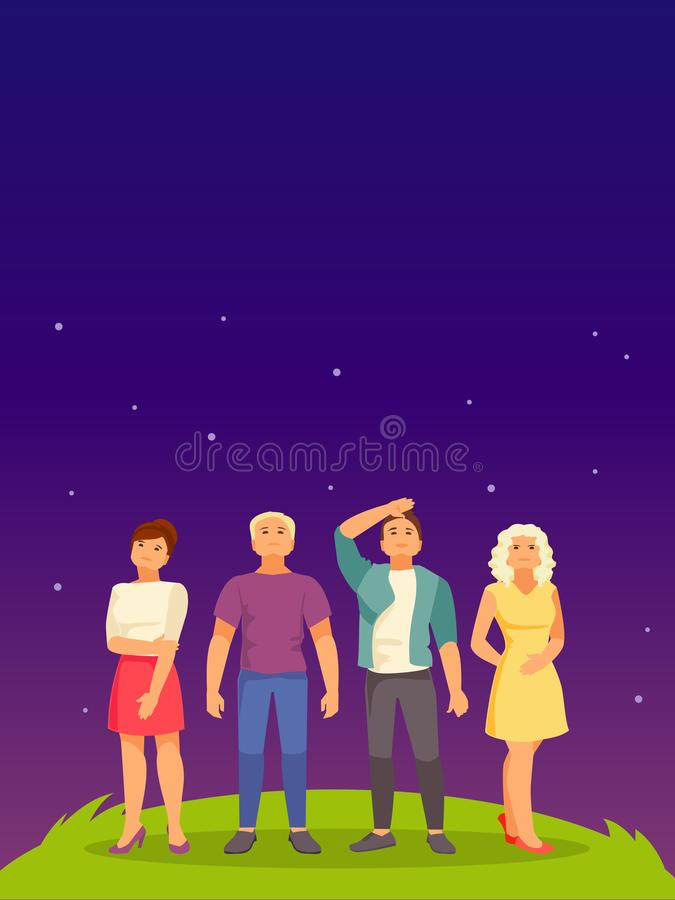 People look up vector stock illustration