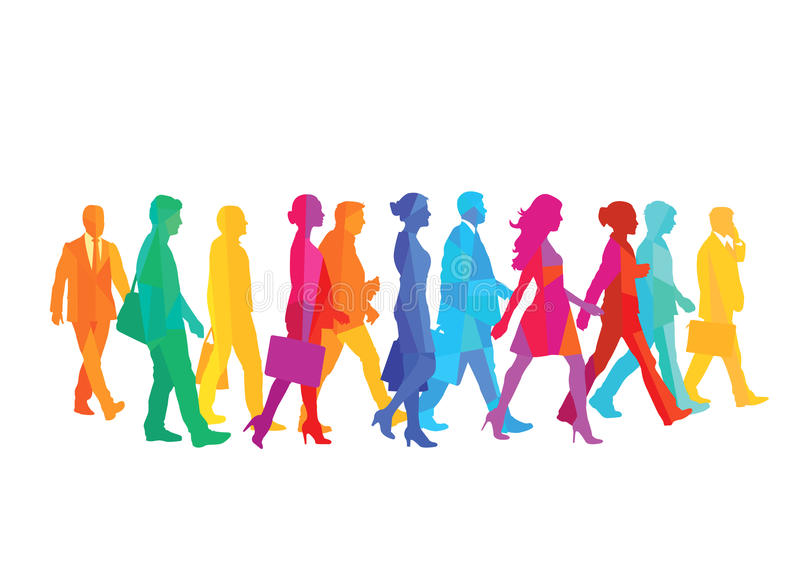 A group of people walking royalty free illustration