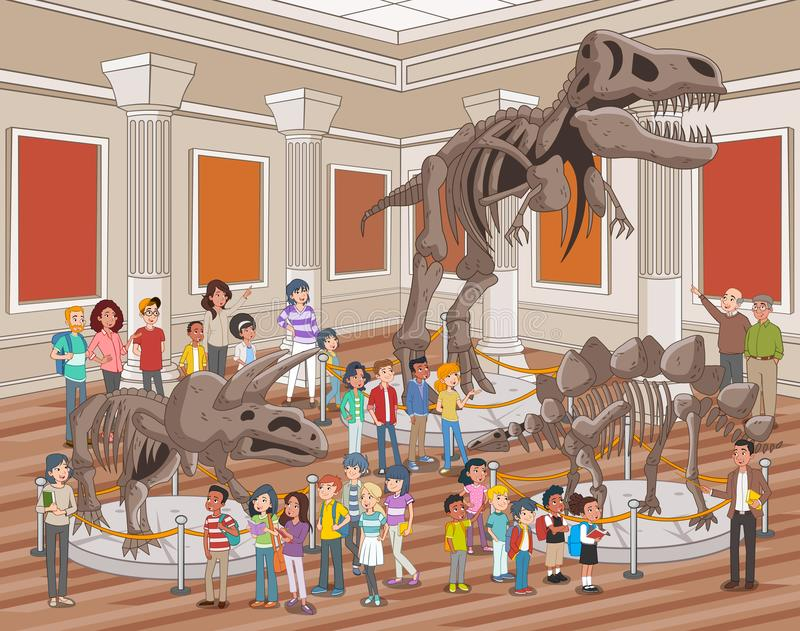 Group of people watching dinosaur skeletons royalty free illustration
