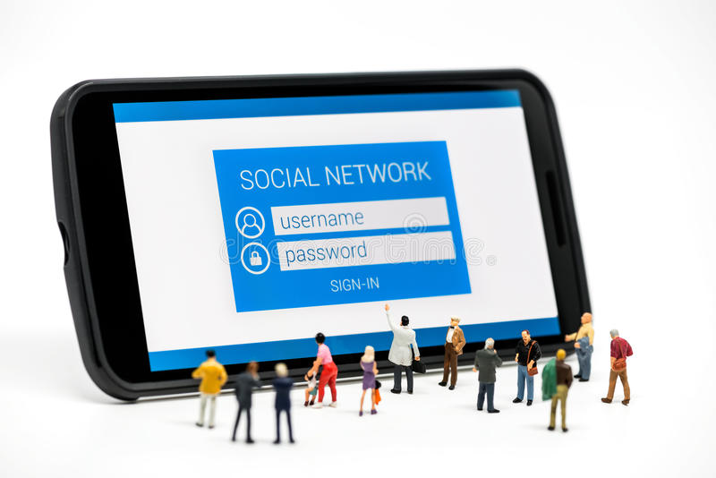 Group of people watching at social network sign in page stock illustration