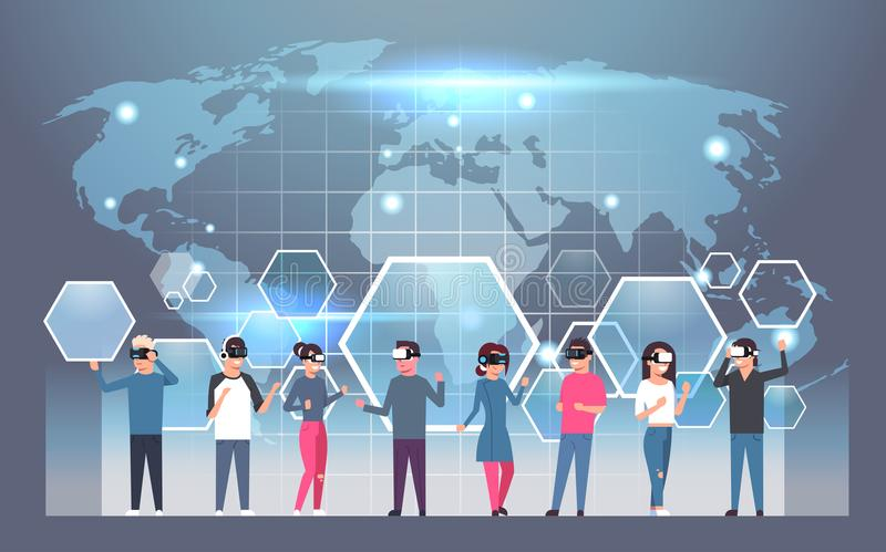 Group of people wearing vr headset virtual reality glasses over download group of people wearing vr headset virtual reality glasses over world map background stock vector gumiabroncs Choice Image