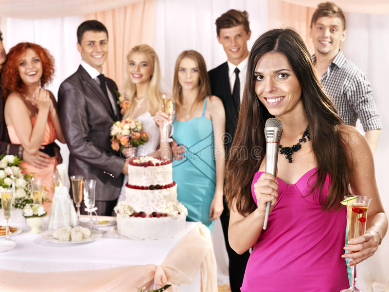 Group People At Wedding Singing Song. Royalty Free Stock Photos