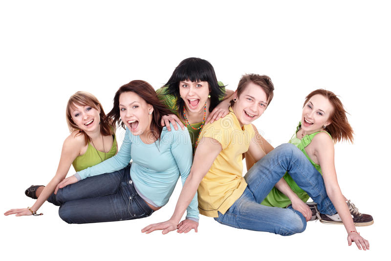 Group of people on white. royalty free stock image