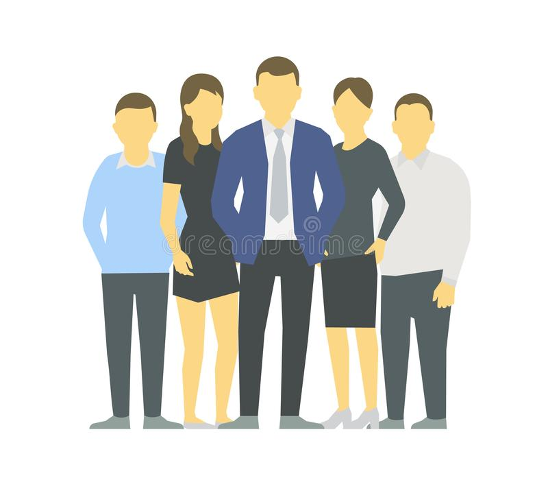 A group of people, workers team of businessmen. Teamwork. Work partnership leadership. Men and women in business clothes. Vector vector illustration