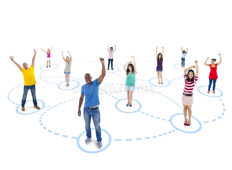 Group of People with Youth Network stock image