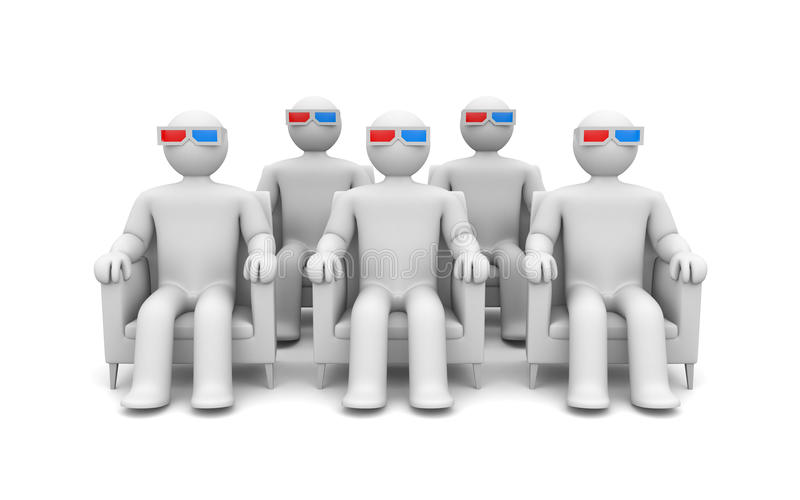 Group of person in 3d glasses stock photography