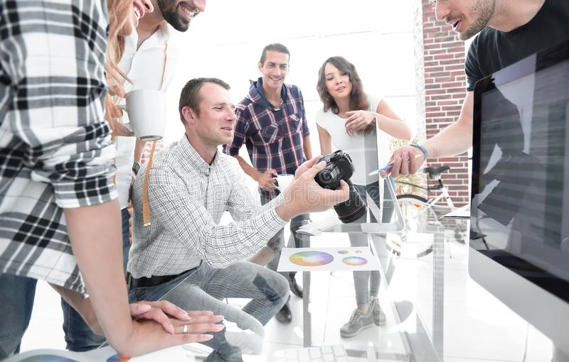 Group photo of editors working in a modern office. royalty free stock photography