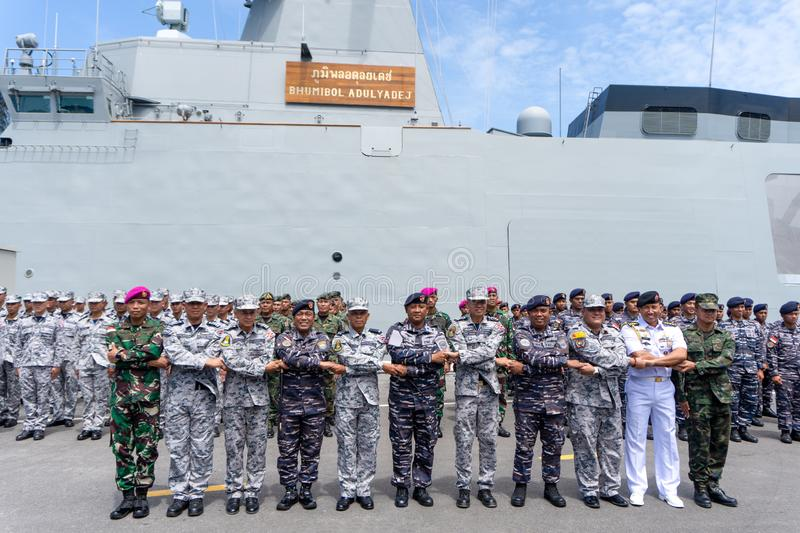 Group photo of the Royal Thai Navy and Indonesian Navy officers on the 20th Sea Garuda  2019 Naval Exercise opening ceremony. CHONBURI, THAILAND - AUGUST 15 stock image