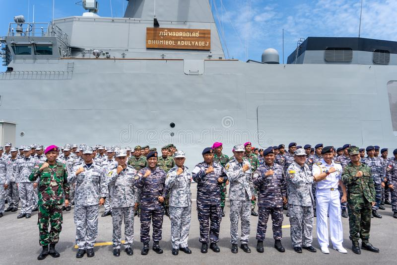 Group photo of the Royal Thai Navy and Indonesian Navy officers on the 20th Sea Garuda  2019 Exercise opening ceremony. CHONBURI, THAILAND - AUGUST 15, 2019 royalty free stock images