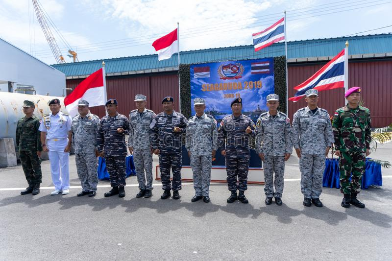 Group photo of the Royal Thai Navy and Indonesian Navy officers on the 20th Sea Garuda  2019 Exercise opening ceremony. CHONBURI, THAILAND - AUGUST 15, 2019 royalty free stock photo