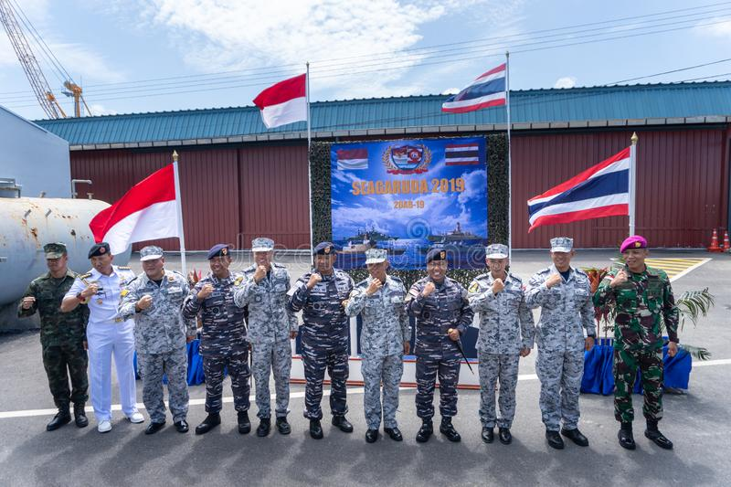 Group photo of the Royal Thai Navy and Indonesian Navy officers on the 20th Sea Garuda 2019 openning ceremony. CHONBURI, THAILAND - AUGUST 15, 2019: Group photo royalty free stock photo