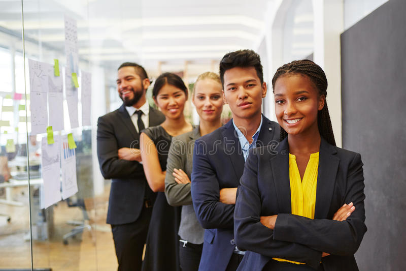 Interracial start-up business team stock images