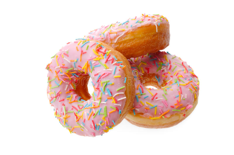 Group of pink donuts stock image